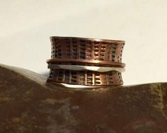 Mixed Metal Copper and Sterling Silver Ring Wide Band Hand Stamped Spinner Ring  - Size 10.50 - Made to Order