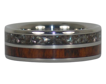 Black Pearl and Snakewood Titanium Ring