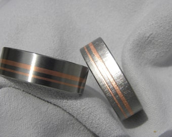 Wedding Ring Set or Wedding Bands, Titanium Copper Inlay, Satin, Frosted