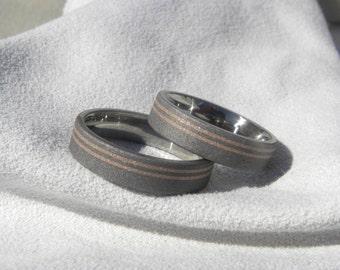 Wedding Ring Set, Titanium with Rose Gold Pinstripe Inlays, Sandblasted