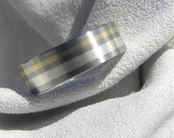 Titanium Silver and Gold Inlay Ring, Wedding Band