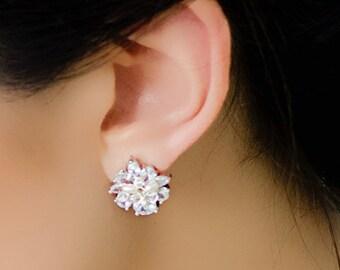 Statement Rhinestone and Freshwater pearl Stud Earrings