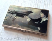 CARD CASE - The Arrival  - business card case, credit cards are kept safe, cash holder, Raven and woman