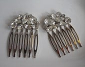 Authentic Vintage Rhinestone Bridal Combs  1950's Hair Accessory Glass Weiss Bridal Unique  Wedding Bride Something Old One of a Kind