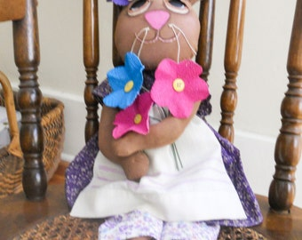 Primitive Easter Bunny with Spring Flowers