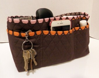 "Purse Organizer Insert/Large/Quilted/4"" Enclosed / Brown"