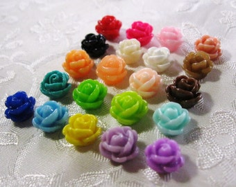 Drilled Resin Rose Flower Beads with Hole Small Choose your Colors 9-10mm 922
