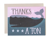 Thanks a Ton Whale Illustrated Card
