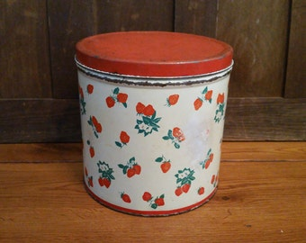 Vintage Strawberry Tin Cannister National Can Corp New York