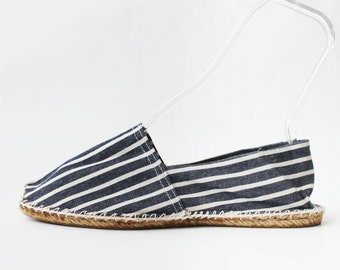 SALE - 1970s Le Rope Espadrilles Chambray Striped Flats