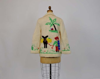 cowichan sweater / Vintage 50's Hand Knit Cowichan Style Mexican Sweater
