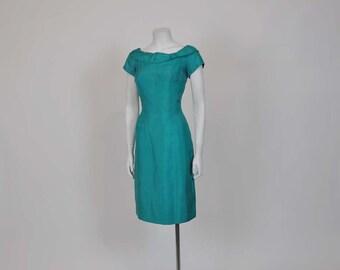 50s dress / Designer Vintage 1950's Mr Blackwell Silk Wiggle Dress
