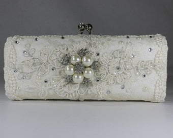 Lace Wedding Bag .. Bridal Clutch Bag ..Vintage Lace.. Wedding Purse. Lacy Wedding Clutch . Hand Embellished Wedding Bag . Custom Made Bag