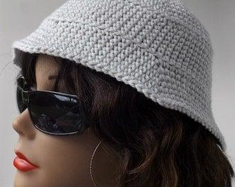 Gray Bucket Hat, Vintage Styled, Crochet Hat, Unisex Hat