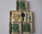 Garden Themed Square Glass Magnets Set of 5