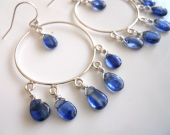 Kyanite Sterling Silver Hoop Earrings, Limited edition, Beautiful stones
