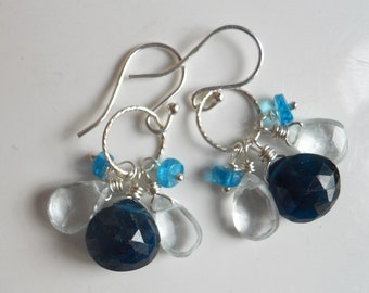 Blue Apatite and Aquamarine Loop Earrings, Cluster Earrings, gemstone earrings
