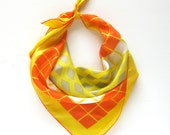 Vintage Sally Gee Scarf in Orange and Yellow / Square Neck Scarf
