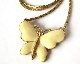Enamel Butterfly Necklace on a Gold Tone Chain / Monet / Vintage Necklace