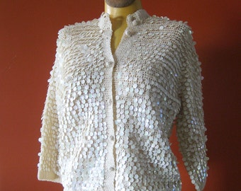 1950s Vintage Sequin Cardigan Sweater Ivory Wool with Opalescent Dangling Sequins Holiday Sweater / Made in Italy
