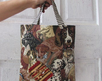 Doggy Bag Fabric TOTE, Bag, Purse Dog themed puppy shower gift with dog and bone bead