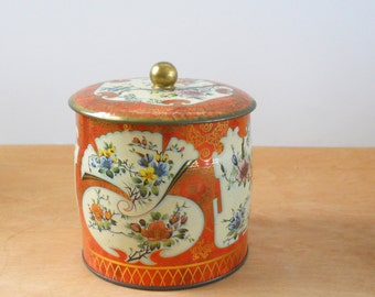 Vintage Tin Orange and Gold Floral • Made in England Lidded Tin