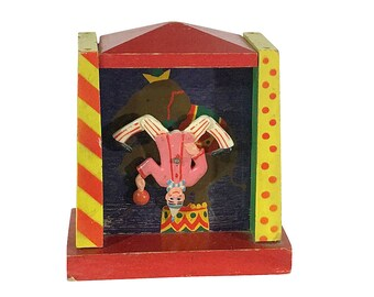 1950s Ruege Dancing Clown Music Box, Plays French Cancan