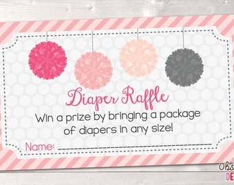 Printable Diaper Raffle Cards Pink & Gray Pom Poms INSTANT DOWNLOAD PDF