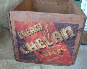 Vintage Wooden Apple Crate Box Wooden Box Apple Crate 1950s Farmhouse Chic Wedding Decor Storage