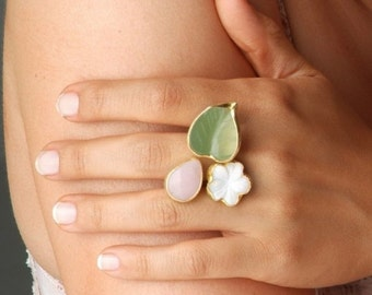 15% Discount Spring Flower Ring with Jade, Quartz and Mother of Pearl Stones