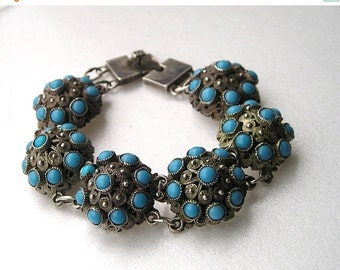 SALE Beautiful Chinese Silver  ETRUSCAN Turquoise Antique Link Bracelet HALLMARKED