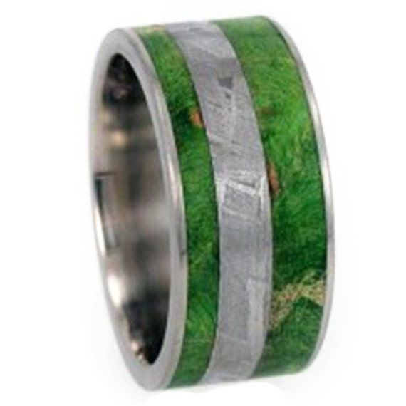 Meteorite Ring, Mens Wood Wedding Band, Titanium Ring With Green Box Elder Burl Inlay