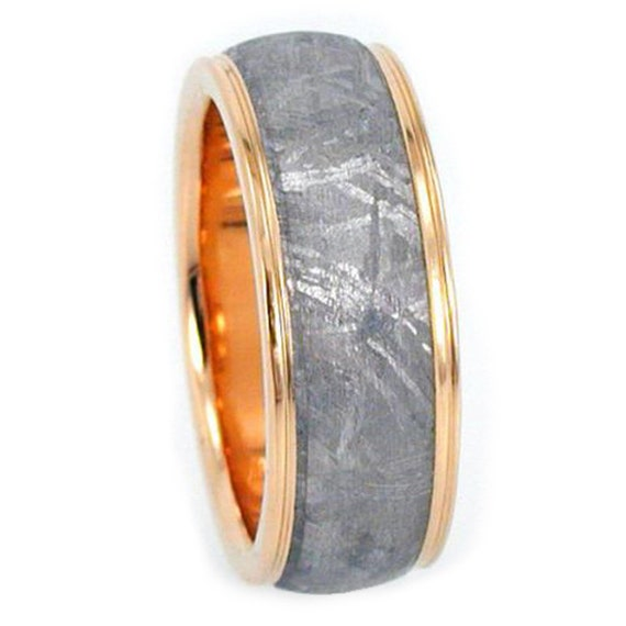 Gibeon Meteorite Ring, 14k Yellow Gold Wedding Band With Grooved Edges, Meteorite Jewelry