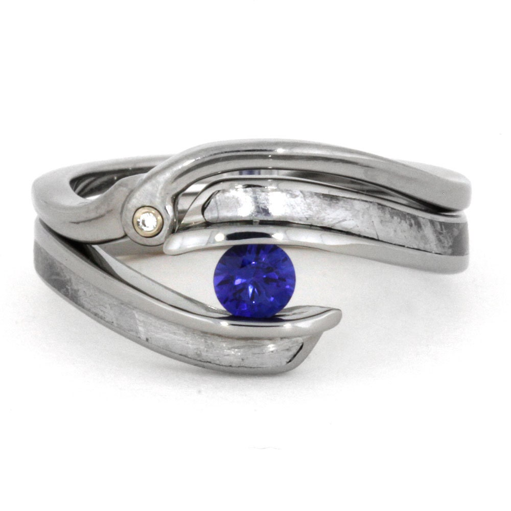 Blue Sapphire Engagement Ring Set With Matching By Jewelrybyjohan