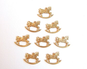 8 Brass Rocking Horse Charms
