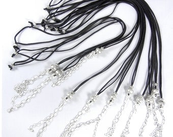 11 Long 34 inch Black Suede Cord with Silver-tone Beads and Chain