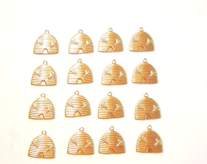 16 or 8 pairs of Brass Beehive Charms