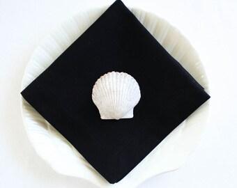 Organic Cotton Napkins, Eco Friendly Cloth Napkins, Reusable - Black, Set of Four