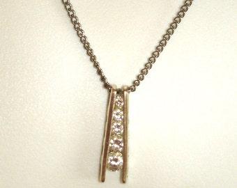 vintage faux diamond ladder pendant silver necklace