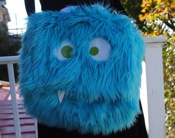 Large Nomnom Monster Furry Messenger Laptop Bag --Fredonia