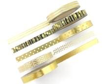 Skinny Foil Washi Tape Set - 5 Rolls - 7.5mm x 10 Metres - Gold Washi Tape - Slim Washi Tape - Washi Tape Pack - Thin Washi Tape - Australia