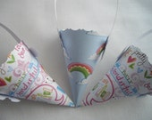 Candy Cones Three Paper Gift Cones For Children Favors Handmade by handcraftusa