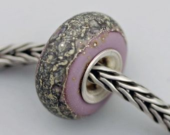 Small Matte Purple Silvered Organic Bead - Artisan Glass Bracelet Bead (MAY-34)