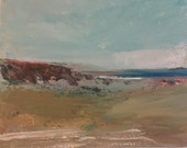Beach Painting- Distant Water-  Beach- Acrylic on Gesso Wood Panel-  8 x 10 - Original Art- Beach- Water-Green-Blue- Distance