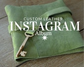 Instagram Photo Album for Valentines Day /Skeleton Key / Green Leather / Photo Corners Included