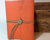 Orange Leather Baby Journal by Binding Bee Indianapolis, Indiana