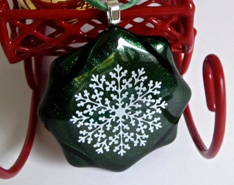 Fused Glass White and Green Snowflake Christmas Ornament