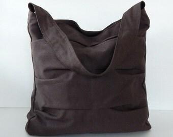 Sale - Chocolate Brown Canvas Bag, shoulder bag, tote, purse, handbag, unique, stylish, messenger bag - Lisa