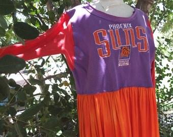 Phoenix Suns - Orange and Purple Sweatshirt Dress  - Re-purposed Men's sweatshirt -  made by kathrin kneidl for resplendent rags