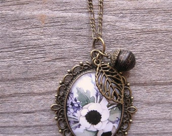 Wearable Art Cameo Necklace with Charms - Lilac and Poppies - Floral Necklace - by Alicia's Infinity
